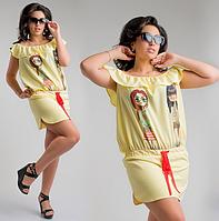 Красивое недорогое летнее короткое женское платье большого размера