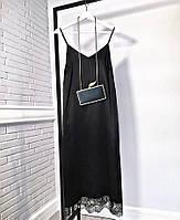 Платье миди из нежнейшего шёлка с кружевом