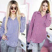 Стильная женская рубашка принт клетка норма / Украина / рубашка