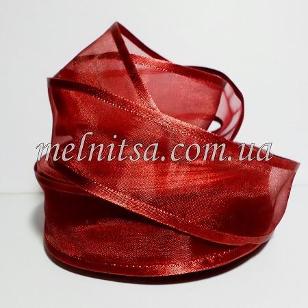 Лента из органзы с атласным краем, 4 см, цвет бордовый, марсала