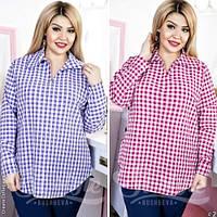 Стильная женская рубашка принт клетка батал / Украина / рубашка