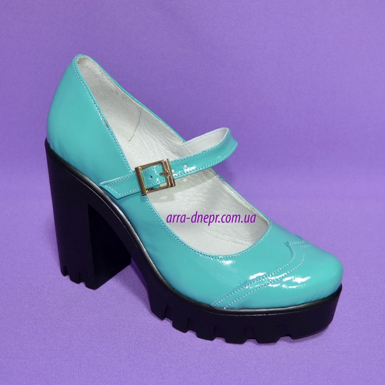 Женские туфли на тракторной подошве, натуральная лаковая кожа, цвет бирюза