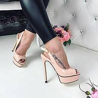 Женские босоножки на высоком каблуке 14 см, эко лак, пудра / босоножки для девочек, стильные