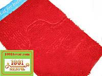 """Набор ковриков из микрофибры """"Макароны или дреды"""" в ванную и туалет, 80х50 см. и 40х50 см., красный"""