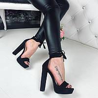 Женские босоножки на каблуке 13 см, эко замша, черные / босоножки женские, модные