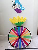 Ветрянная вертушка-колесо радуги с бабочкой, фото 1