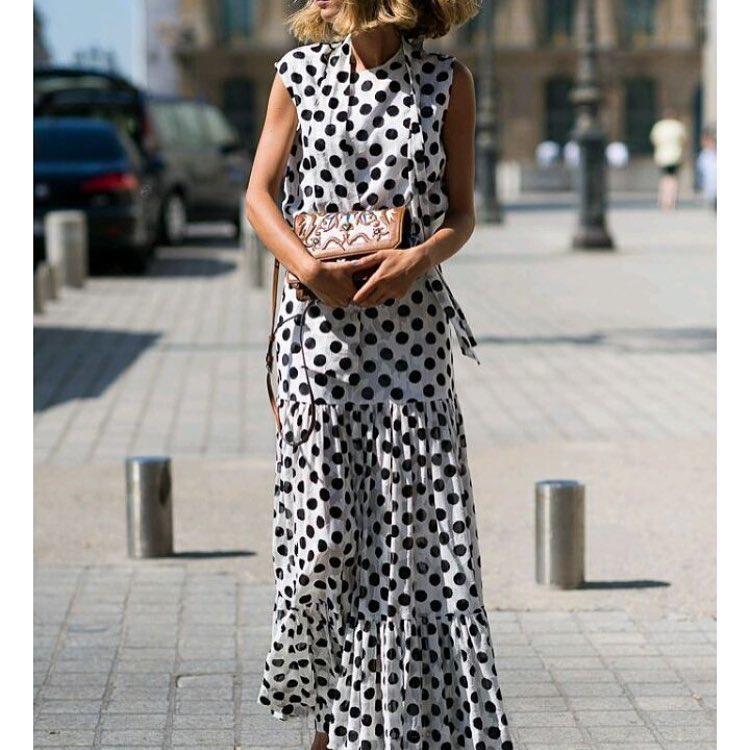 3c500ff1668 Длинное шифоновое платье в горох с юбкой с воланами  продажа