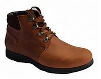 Ботинки мужские рыжего цвета на шнуровке, нубук+замш