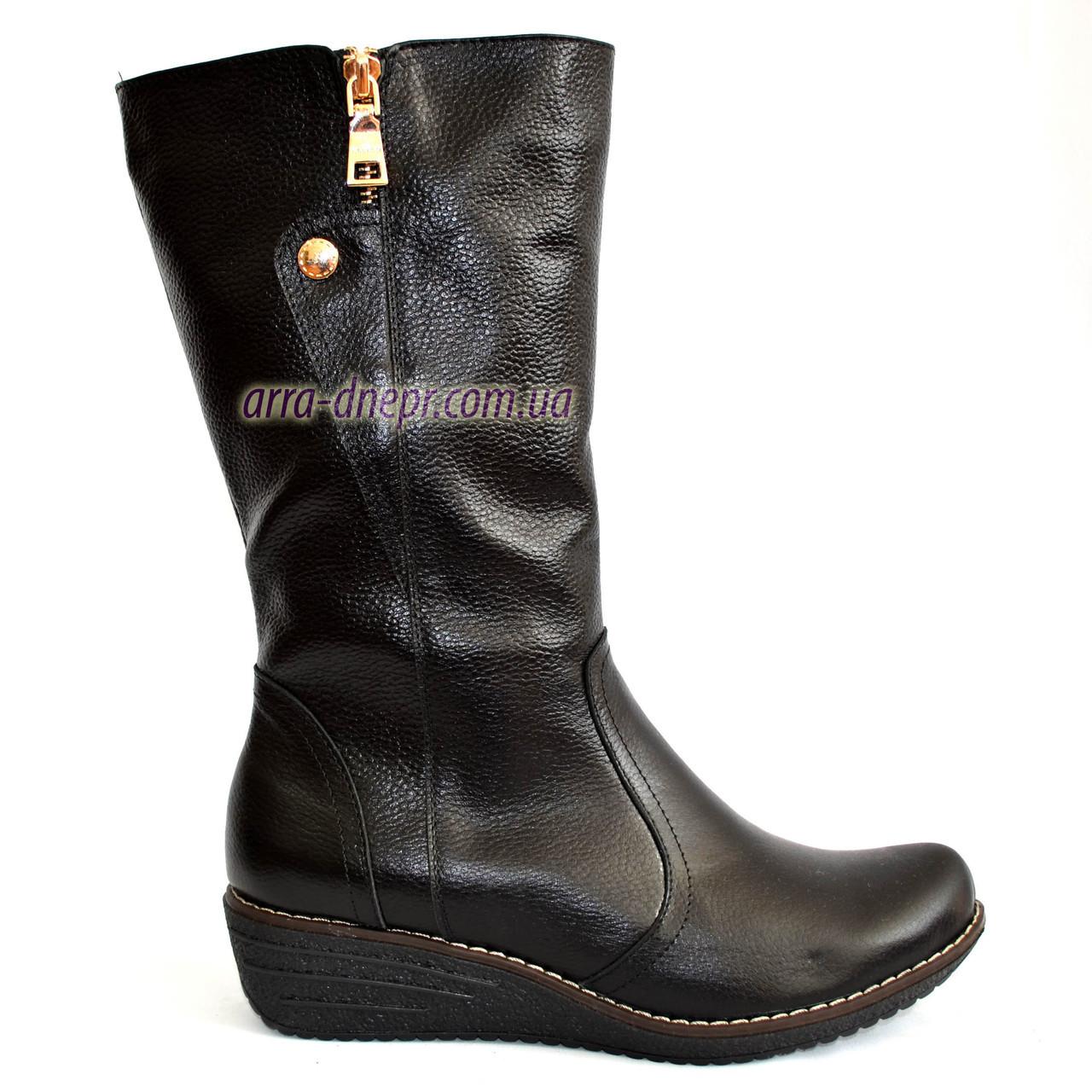 Женские демисезонные ботинки на невысокой платформе, натуральная кожа флотар.Широкая голень!
