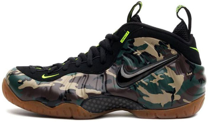 Мужские кроссовки Nike Air Foamposite Pro Army Camo 587547-300, Найк Аир Фоампозит