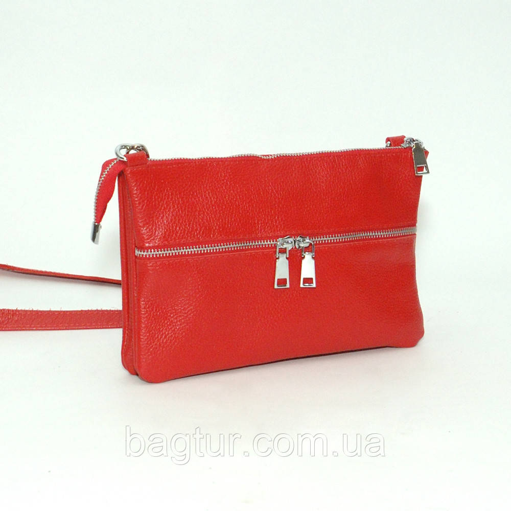 Сумочка женская кожаная 28 красный флотар 01280107