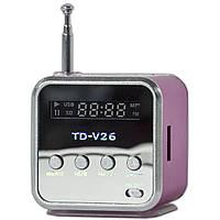Мини-колонка Lesko TD-V26 USB розовая портативная кардридер FM mp3 AUX басс антенна miniUSB музыкальная