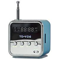 Мини-колонка Lesko TD-V26 синяя портативная USB музыкальная джек 3.5 для телефона таблета FM LED дисплей басс