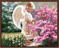 """Картина по номерам 40х50см, набор состоит из холста с контуром """"Ангел и сакура"""", акриловых красок и  кисточек - 3шт."""