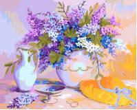 """Картина по номерам 40х50см, набор состоит из холста с контуром """"Натюрморт с сирен.цветами"""", акриловых красок и кисточек - 3шт."""