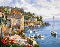 """Картина по номерам 40х50см, набор состоит из холста с контуром """"Дом у моря"""", акриловых красок и кисточек - 3шт."""