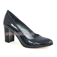 """Женские синие лаковые классические туфли на каблуке. ТМ """"Maestro"""""""