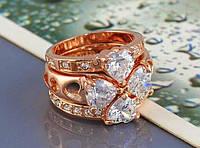Воплощение Любви тройное золотое кольцо с кристаллами Сваровски, золото 750 проба