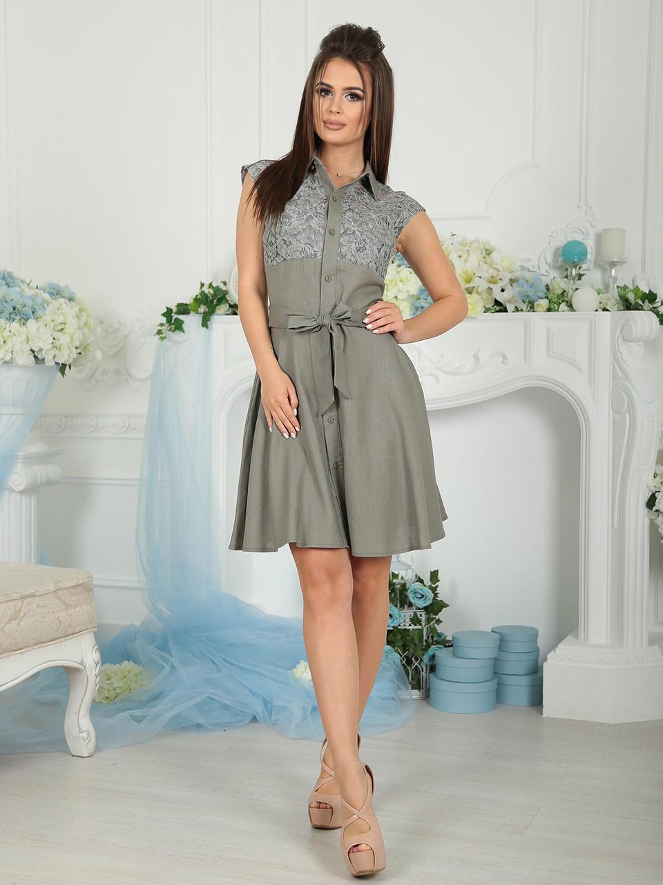 Платье летнее оливковое Виола