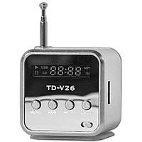Легкая мини-колонка Lesko TD-V26 серебристая с экраном поддержкой AUX USB FM-радио mp3 microSD \ TF карт