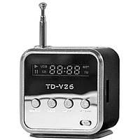 Металлическая мини-колонка Lesko TD-V26 черная портативная с дисплеем поддержкой USB AUX microSD TF card FM