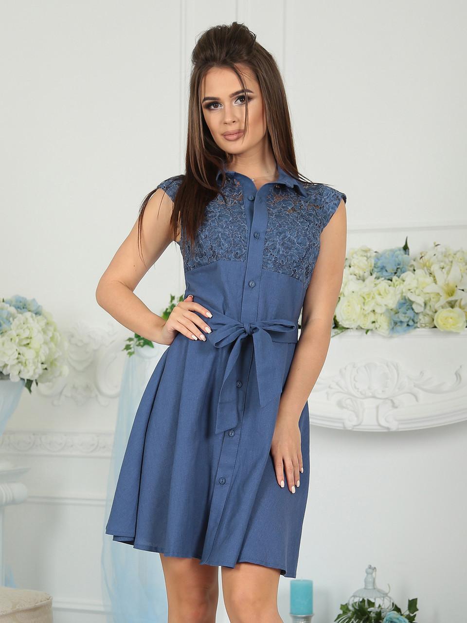 Платье летнее синее Виола
