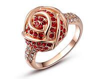 Сияние алой розы позолоченное кольцо с цирконами розовое золото 750 проба