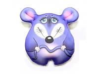 Антистрессовая подушка игрушка Мышка Стесняшка Love You маленькая синяя 24*26 см