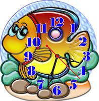 Часы настенные фигурные 30*30 см - Морская рыбка 3D фотопечать