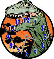 Часы настенные фигурные 30*30 см - Динозавр 3D фотопечать