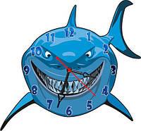 Часы настенные фигурные 30*32 см - Акула 3D фотопечать