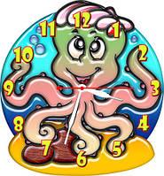 Часы настенные фигурные 30*33 см - Осьминожка 3D фотопечать