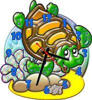 Часы настенные фигурные 30*33 см - Черепашка 3D фотопечать