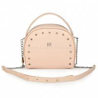 Женская кожаная сумка через плечо Katerina Fox бежево-розового (нюда) цвета из натуральной кожи (KF-907)