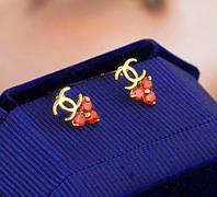 Chanel позолоченные серьги с кристаллами Сваровски золото 750 проба