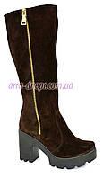 Замшевые коричневые женские демисезонные сапоги на устойчивом каблуке, декорированы молнией