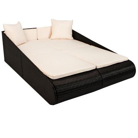 Двухместная кровать-лежак из искусственного ротанга