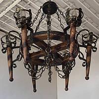Люстра из дерева Факел - Римский - Колесо 6 ламп Старая Бронза, Дерево Состаренное темное