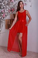 Выпускное платье в пол красного цвета с открытыми ножками