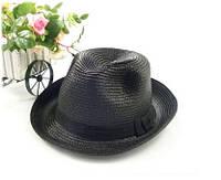 """Соломенная шляпа с полями """"Федора"""" чёрная"""