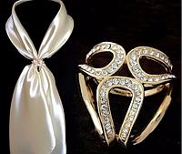 Брошь кольцо золотистое для шарфика и платка