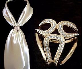 Брошь кольцо золотистое для шарфика и платка, фото 2