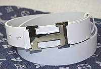 Белый кожаный ремень Hermes