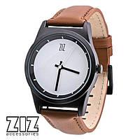 Часы наручные 6 секунд White коричневый кожаный ремешок