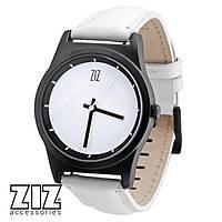 Часы наручные 6 секунд White белый кожаный ремешок