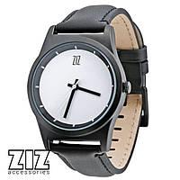 Часы наручные 6 секунд White черный кожаный ремешок