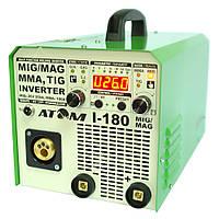 Сварочный инверторный полуавтомат Атом I-180 MIG/MAG с горелкой МВ-15 и кабеля 3+2 Abicor Binzel, фото 1