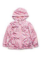 Куртка-ветровка детская для девочки (розовая) Модный карапуз разм.98-134