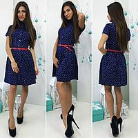 Платье (738) в горошек темно-синий