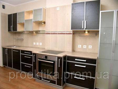 Кухня под заказ с фасадов ДСП в алюминиевом профиле
